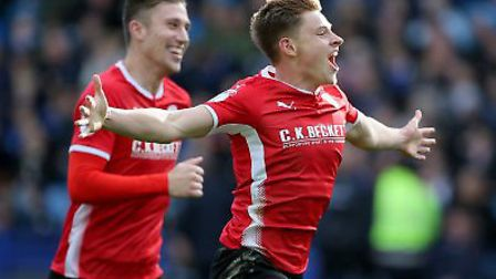 Barnsley's Harvey Barnes celebrates his equaliser at Sheffield Wednesday. Picture: PA