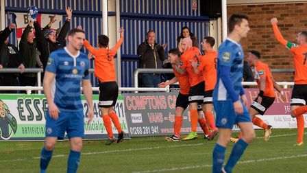Bury players celebrate with their fans after Ollie Hughes' goal at Billericay last weekend. Photo: P