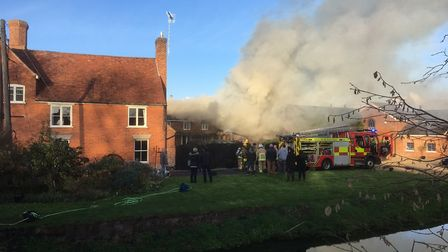 The fire is thought to have started in an outbuilding in Monks Eleigh. Picture: CONTRIBUTED