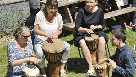 Drummers performing at a workshop at a Culture Festival. Picture: SU ANDERSON