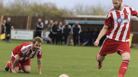 Leading scorer Miles Powell, right, should be available again for Felixstowe this weekend. Photo: ST