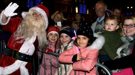 A packed Cornhill and Buttermarket in Bury St Edmunds for the annual Christmas lights switch-on. San