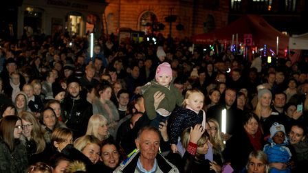 A packed Cornhill and Buttermarket in Bury St Edmunds for the annual Christmas Lights Switch-on.