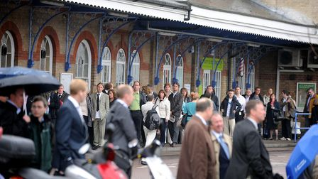 Queues of commuters at Ipswich Railway Station PIC: ANDY ABBOTT