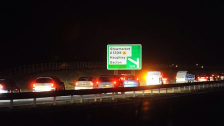 Slow moving traffic on the A14. PIC: Gregg Brown