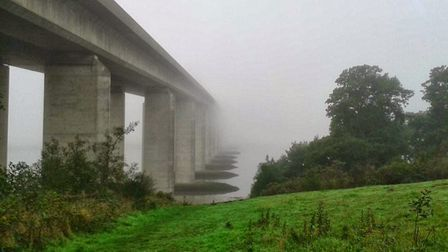 The Orwell Bridge disappearing into the fog. Picture: MARK NUNN