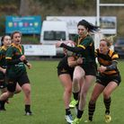 Bury's Stephanie Durrant powers through for a try against Southwold. Picture: SHAWN PEARCE