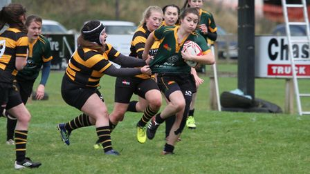 Danni Lee rumbles through for the Bury Foxes in their win over Southwold. Picture: SHAWN PEARCE