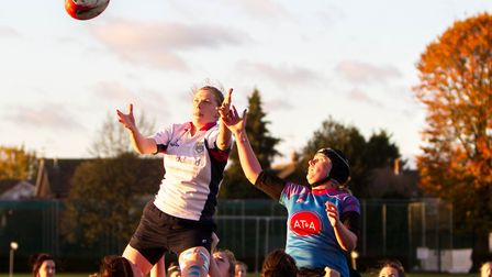 A line-out tussle between the Woodbridge Amazons and Chelmsford Bluebirds. Picture: SIMON BALLARD