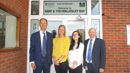 From left, Richard Norrington, Stacey Bunn and Chloe Lock from Ipswich Building Society with Gwyn Ja