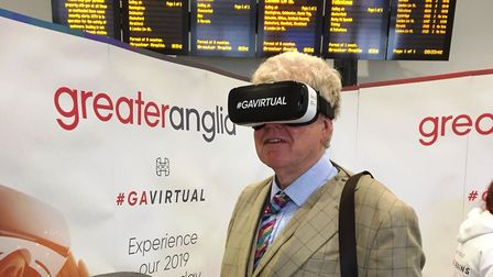 Paul Geater trying the VR headset. Picture: GREATER ANGLIA