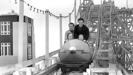 The roller coaster ride, a wooden structure painted blue, was a landmark on the Felixstowe sea front