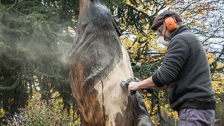 Ben Loughrill, cleaning up the wolf sculpture on the Southgate roundabout in Bury St Edmunds.