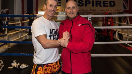 Gary Staff, left, and Nino Severino at the Ipswich Kickboxing Aacdemy. Picture: PAVEL KRICKA