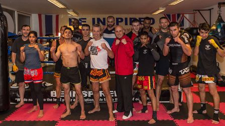 Gary Staff and Nino Severino with the crew from the evening training session at the Ipswick Kickboxi