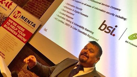 Colin Mayson of BSI speaking at Menta's General Data Protection Regulation Conference. Picture: Nic