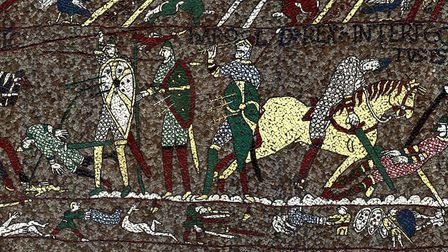 The scene in the mosaic showing King Harold Godwinson being shot in the Eye. Picture: MICHAEL LINTON