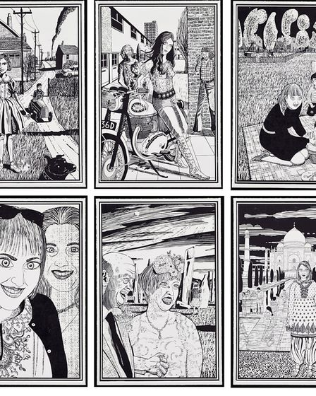 Six Snapshots of Julie, 2015, Six woodcuts, by Grayson Perry, Courtesy the artist, Paragon   Contemp