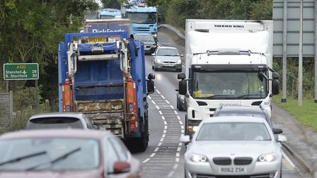 Queues on the A120 at Marks Tey. Picture: PAGEPIX LTD