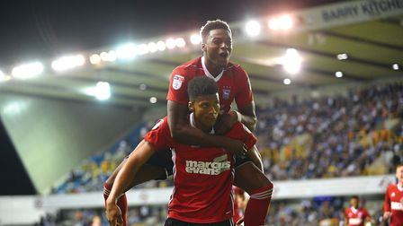 Dominic Iorfa celebrates Jordan Spence's goal at Millwall. Picture PAGEPIX