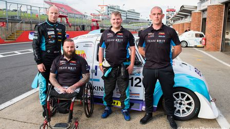 Team BRIT at Brands Hatch. From left to right: Jimmy Hill, Andy Searle, Tony Williams and Warren McK