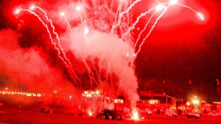 Fireworks and banger racing at Foxhall Stadium. Picture: JOHN KERR