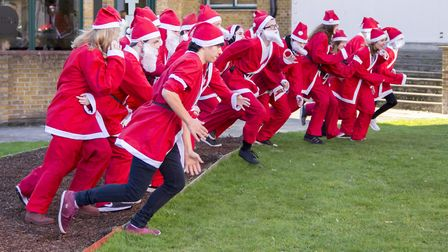 Colchester Institute students launch Colchester Santa Fun Run 2017. Picture: COLCHESTER INSTITUTE