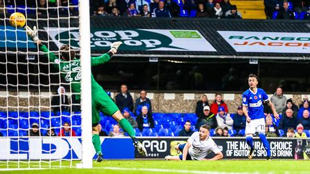 Bersant Celina watches as his second half shot evades the fingertips of Preston keeper Chris Maxwell