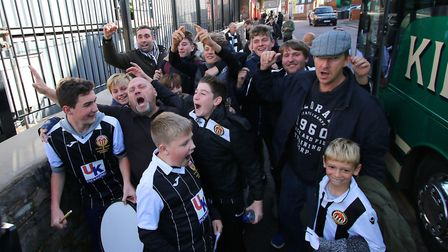 Heybridge Swifts fans arrive for today's FA Cup first round tie at Exeter. Picture: Mark Kerton/PA