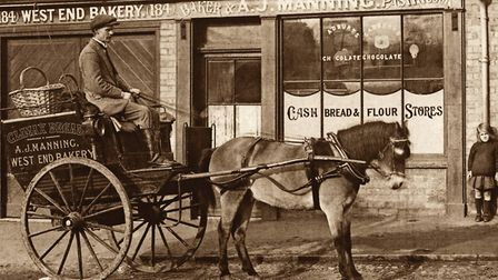 The delivery cart of Arthur Manning, baker of Out Westgate. Picture: AMBERLEY PUBLISHING