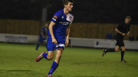 Kyran Celements, who is set to return to the Bury Town side after suspension, against Norwich United