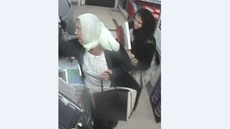 CCTV of two women police would like to speak to after the theft of a Poppy Appeal box. Picture: ESSE