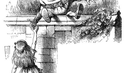 Tenniel's image of Humpty Dumpty from Alice Through the Looking Glass. More egg than cannon. Picture