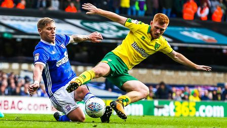 Martyn Waghorn (right) battles Harrison Reed for the ball during Ipswich Town's 1-0 home defeat to r