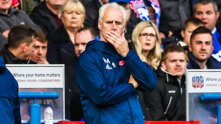 Town manager Mick McCarthy ponders during the Ipswich Town v Norwich City (Sky Bet Championship) mat