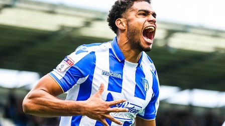 Mikael Mandron celebrates the first of his two goals against Crewe, in a 3-1 victory. Picture: STEV