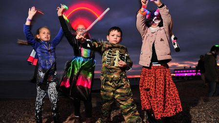 Pixie, Olivia, Toby and Scarlett, pictured havng fun with their glow sticks at EACH's Felixstowe Glo