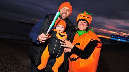 Jon, Joshua and Jo Rawlings had dressed as pumpkins for their walk. Picture: SARAH LUCY BROWN