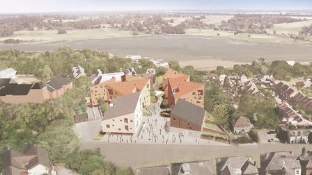 An aerial view of the planned development of the former Suffolk Coastal office site. Picture: HOOPER