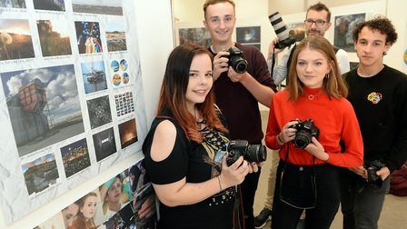 Student photographers at One sixth form at Sailmakers Shopping Centre in Ipswich. Left to right: Meg