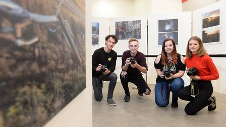 Student photographers at One sixth form at Sailmakers Shopping Centre in Ipswich. Left to right: Bil