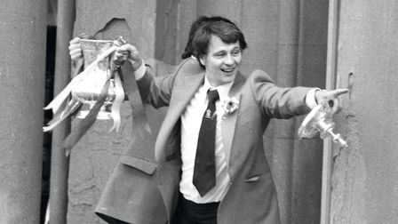 Manager Bobby Robson shows off the FA Cup to Blues fans in Ipswich. Picture: ARCHANT