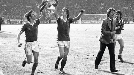 Roger Osborne and Paul Mariner celebrate. Picture: ARCHANT