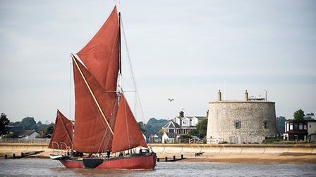 Thames barge Melissa enters the Deben at the beginning of John McCarthy�s travels. Picture: JEMMA WA