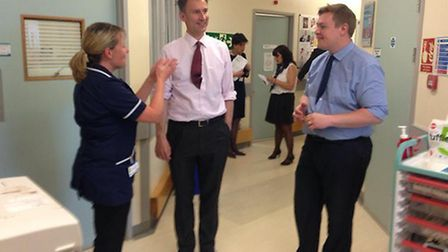 Health secretary Jeremy Hunt with Colchester MP Will Quince during a visit to Colchester General Hos