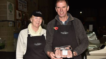 Battle of the Bangers 2017 at Beccles Farmers' Market. Val and Keith Player with their Alburgh pork