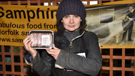 Battle of the Bangers 2017 at Beccles Farmers' Market. Karen Nethercott from Samphire with her class