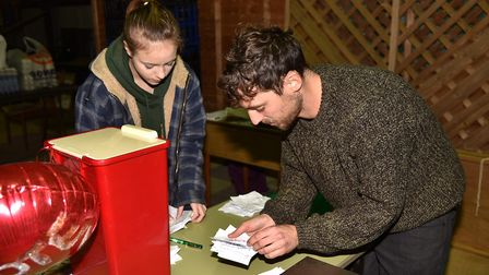 People voting in Battle of the Bangers 2017 at Beccles Farmers' Market. Picture: SONYA DUNCAN