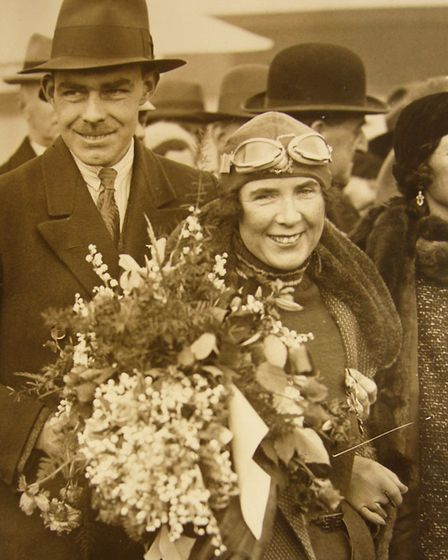 Victor and Mildred Bruce reunited at Croydon after her aviation exploits. Picture: COURTESY CAROLINE
