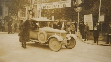 Mildred congratulates husband Victor after his victory in the 1926 Monte Carlo Rally. Picture: PAUL